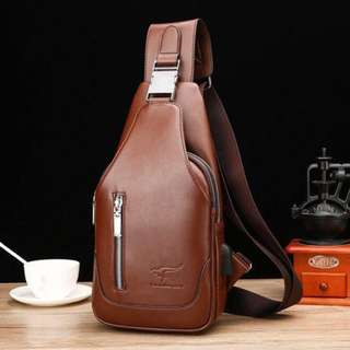 Leather Body Bag with USB cord