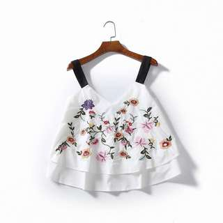 Zero DC floral embroidered top