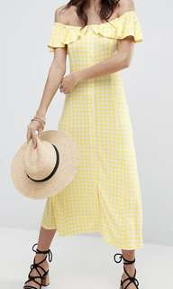 ASOS Off Shoulder Button Through Midi Sundress in Gingham