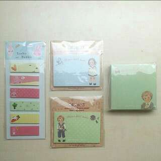 [LARGE DISCOUNT] Rabbit Post It Notes, Paper Doll Mate Notepads, Korean Stationery, Made In Korea, School, Office,