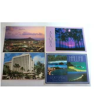 包郵 1991年 購自 美國夏威夷 Hawaii 明信片 POSTCARD 4張