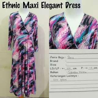 Ethnic Maxi Elegant Dress | Pakaian Wanita | Terusan Import