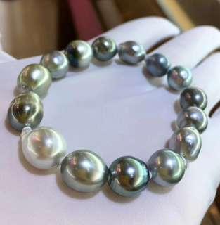 10.2-11.4mm大溪地巴洛克手鏈 共15粒珠 漸變韻色特別又耐看 上手效果超讚😊