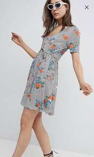 ASOS Floral Print Gingham Button Through Sundress