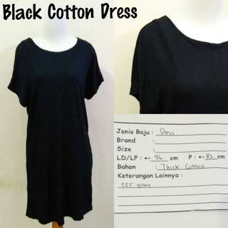 Black Cotton Dress | Pakaian Wanita | Terusan Import