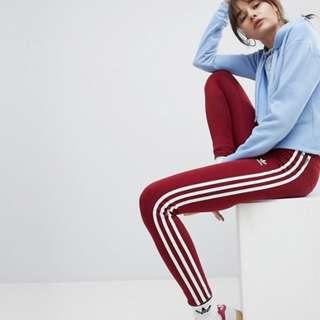 Adidas Originals adicolor Three Stripe Leggings in Burgundy