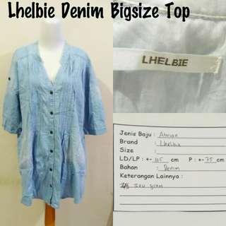 Lhelbie Denim Bigsize Top | Pakaian Wanita | Atasan Import