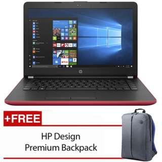 """HP 14-Bw020AX 14"""" Laptop Red (A9-9420, 4GB, 1TB, Radeon 520 2GB, W10H)"""