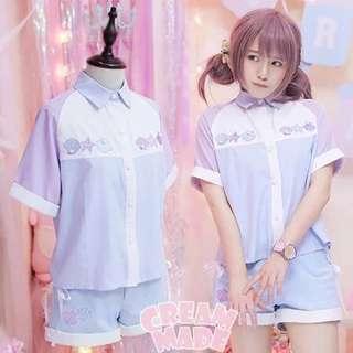日係少女軟妹貝殼刺繡襯衫短裙套裝