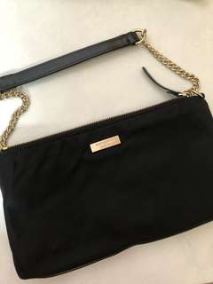 Kate Spade Black Clutch Bag with Gold Chain