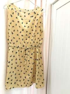 Dress Motif Bird Brown