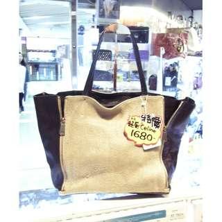 Celine Khaki Canvas / Black Leather Shopping Shoulder Tote Hand Bag 塞利 卡其色 帆布 / 黑色 羊皮 皮革 手挽袋 手袋 肩袋 袋 購物袋