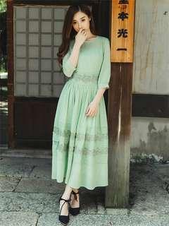 AO/KKC071607 - Lace Embroidered Pleated Chiffon Long Dress