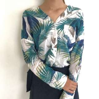 #788 tumblr tropical leaves printed long sleeve blouse