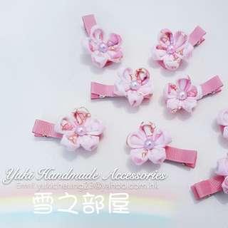 淡粉嫩日本毛絨布和風花髮夾