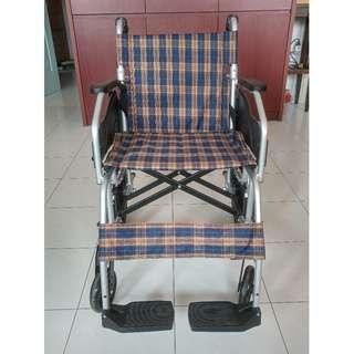 Foldable Lightweight Wheekchair (Blue & Brown Checkered)