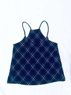 Checkered drawstring top