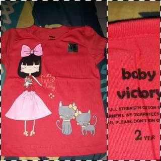 Kaos baby victory ukuran 2 tahun