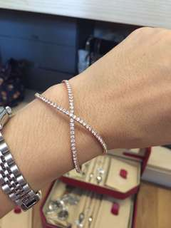 Rose gold and strass diamond bracelet bangle