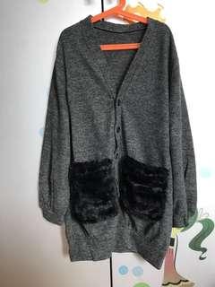 日本大熱毛毛袋深灰外套