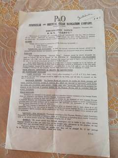 P&0 embarkation notice `Corfu' 1951