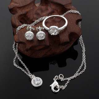 92.5 silver set necklace , ring and earring