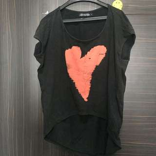Love and lies heart oversized tshirt