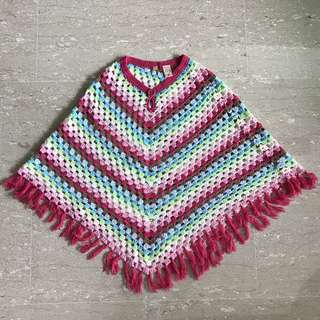 Knitted Rainbow Poncho