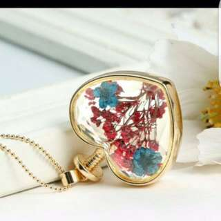 Brand New Heart Shaped Pink And Turqoise Baby Breath Dried Flowers Silver/Gold Necklace Pendant