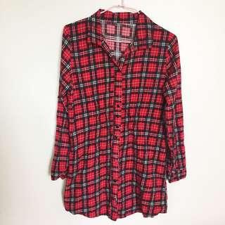 🚚 紅色格子襯衫縮腰洋裝