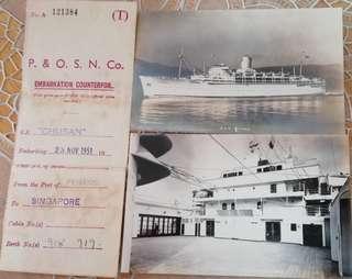 P&O Chusan 12 postcard pics n embarkation counterfoil 1951
