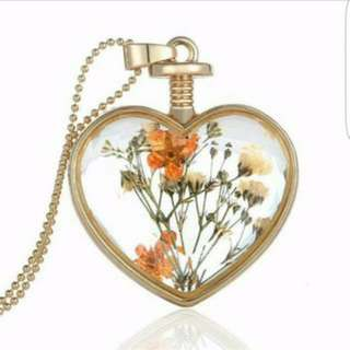Brand New Heart Shaped Dried Flowers Necklace Pendant In Orange And White