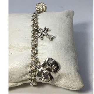 "Estate Vintage Clown & Cross,sterling silver toggle bracelet 7.5""size,18.9 grams"