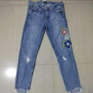 Zara flower patch jeans