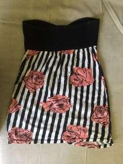 Original Motel Tube Dress (stripes & floral) motif strip dan rose