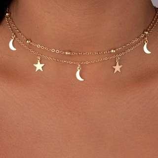 ♡ Tumblr Choker Star Moon Necklace ♡