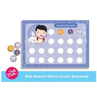 Printable brushing teeth reward chart for boy - printable tooth brushing reward chart with printable sticker - children's reward chart