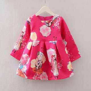 Girl dress long sleeve  Material chiffon Size : 3-5y