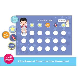 potty training reward chart - printable potty training chart for boy - encouragement reward chart - digital download