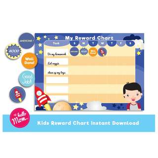 Kids printable reward chart with printable sticker - digital download boys chores chart - DIY chores chart - children responsibility chart