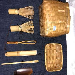 日本回流竹編茶具一套