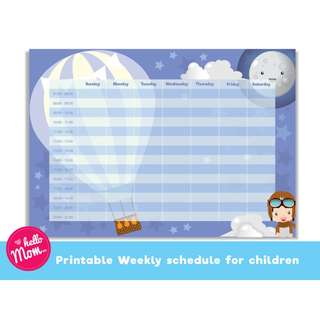 Printable weekly planner for boy - Digital download weekly planner for kids - children weekly schedule