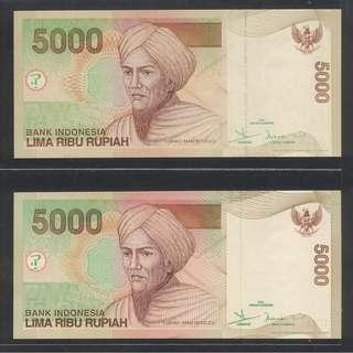 (BN 0071) 2001 Indonesia 5000 Rupiah x 2