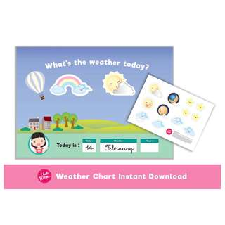 weather printable chart for Girl - what's the weather flash card - busy book - children activity