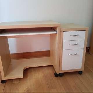Computer Desk and Modestal (Beige)