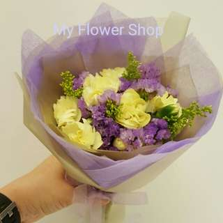 Carnations and Statice Bouquet (Fresh Flowers)