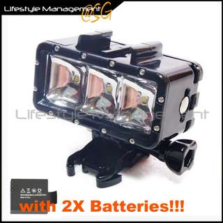 GoPro Compatible Hero/Hero2/Hero3/Hero3+/Hero4 Waterproof POV LED Night Light Action Cam Sony JVC