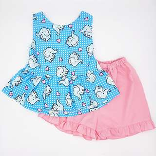 Baby Elephant girl 2-Pc Cotton Big Bow Set
