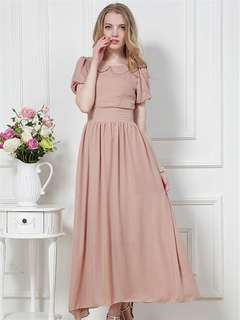 AO/KKC071635 - Trendy Doll Collar High Waist Large Hem Chiffon Dress