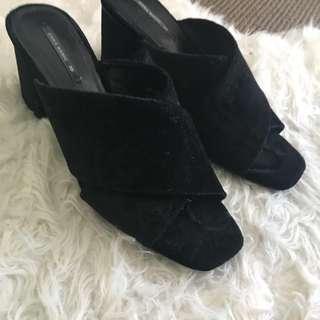 Velvet Black Mules